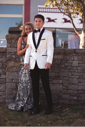 White with Silver Lame' Splash and Black Lapel Tuxedo