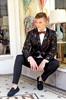 Ryan Ombre Floral Faux Suede Suit