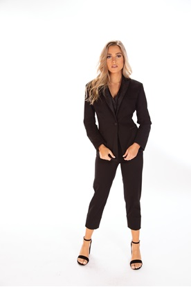 Lady's Black Knit Stretch Tuxedo Prom Rental