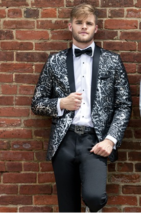 Black with Silver Lame' Splash Tuxedo Prom Rental
